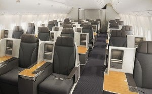 The new American 767-300 business class cabin.