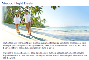 Flight deals on American Airlines to Mexico.