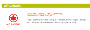 Get bonus Aeroplan miles for flying Air Canada to Europe this summer.