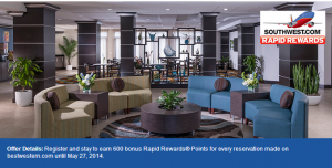 Earn 1200 Southwest Rapid Rewards points per stay at Best Western.