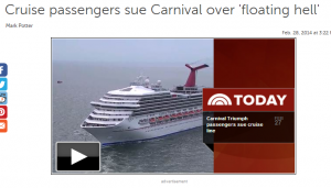 Carnival passengers sue over emotional trauma.