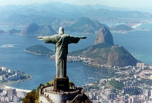 The Christ Redeemer statue on top of Corcovado Mountain.