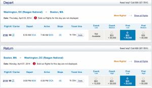 Washintong DC to Boston on US Airways