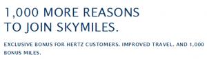 Get 1,000 bonus miles for joining Delta Skymiles.