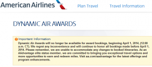 American will no longer offer Dynamic Awards to elite flyers.