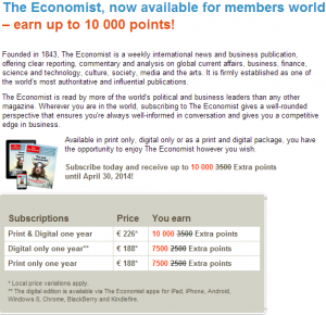 Subscribe to the Economist and get 10,000 bonus miles on SAS.