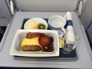 A hot breakfast on a 50-minute flight!