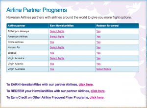 Hawaiian airline partners