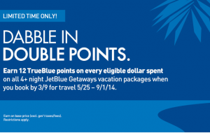 JetBlue double points on Getaways.