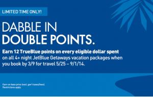 JetBlue double points on Getaways.