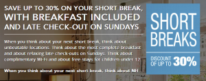 Book a Short Escape at an NH Hotel and save 30%.