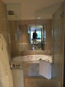 The soaking tub in the bathroom.