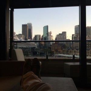 View from the City Harbour Deluxe room at Park Hyatt Sydney.