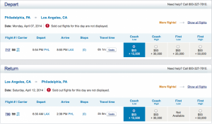 PHL - LAX round trip economy on US Airways