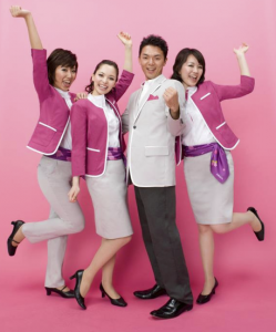 They are a happy bunch at low cost carrier Peach Aviation.