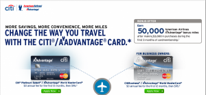 Both the CitiBusiness and Platinum Select AAdvantage Mastercards are currently offering 50,000-mile bonuses.
