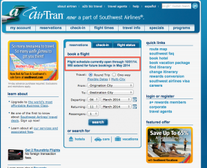 AirTran and Southwest have extended the schedule through October 31.