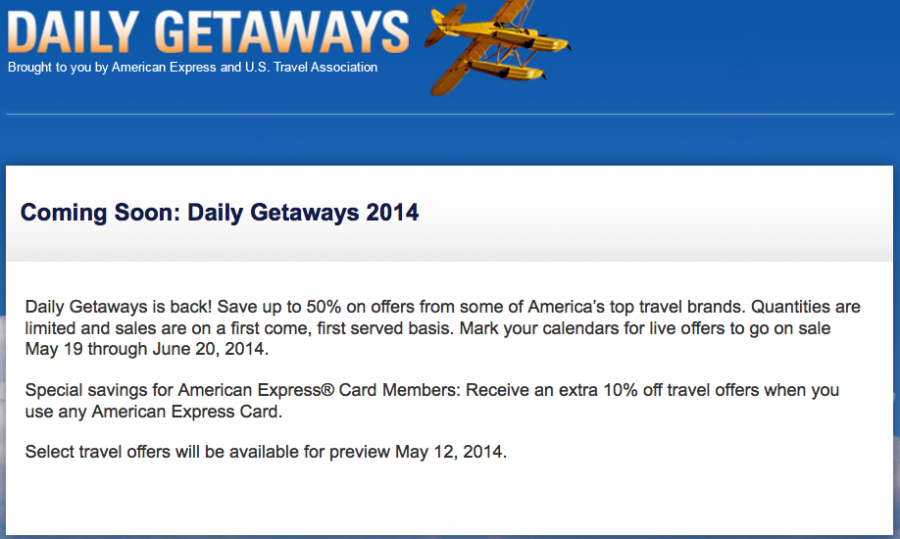 Amex Daily Getaway Deals Coming May 2014the Points Guy