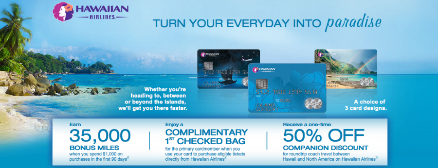 Barclaycard's Hawaiian Airlines Mastercard offers a free checked bag.