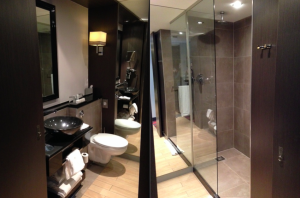 Two views of the mirrored bathroom at The Dominican, Brussels