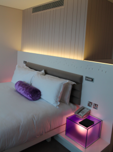 Another view of the bed and purple accents