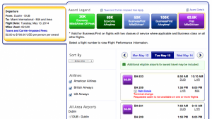 Awards for schedules similar to my DUB-LHR-MIA itinerary are common in the spring and fall for 62,500 AA miles
