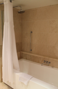 Extra large tub with rain shower head