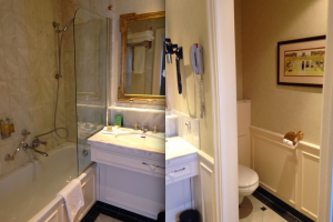 Two views of the bathroom at the Hotel Stanhope, Brussels