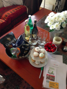 Information packets and welcome gifts from our Airbnb hosts