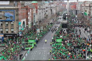 Our stellar view of the St. Patrick's Day Festival Parade