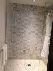 I liked the marble shower - but please give me a door that closes!