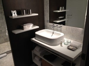 The sink area in the bathroom.