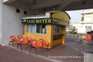 The taxi stand at the Phuket Airport.