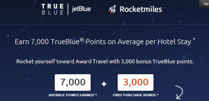 Get 3,000 bonus points on Jet Blue for Rocketmiles bookings.