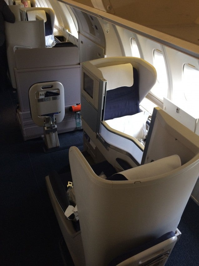 Club World seats on the upper deck of BA's 747-400