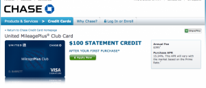 The United Club card comes with a $100 statement credit.