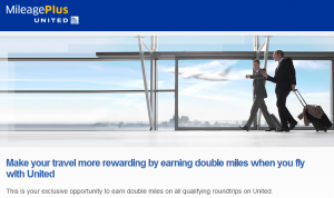 Get double miles on roundtrip United flights this spring (targeted).