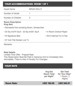 Rates for my dates were almost unbelievably low for a NYC W.