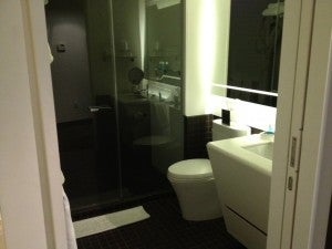 The bathroom was small but functional.