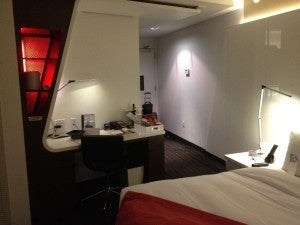 The desk and minibar area.