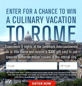 Win a culinary trip to Rome.