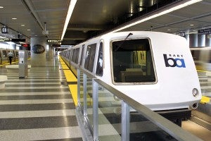 The BART station at SFO
