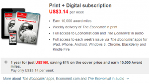 Get Lufthansa Miles & More for subscribing to The Economist Magazine.