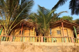 Colorful beach huts abound in Goa