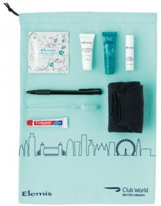 BA started using new amenity kits with British-made Elemis products in December 2103