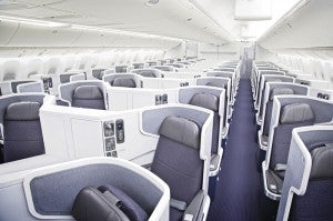 Business class seats aboard American's 777-300ER
