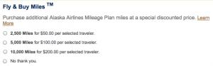 Alaska raises the cost of Fly & Buy miles.