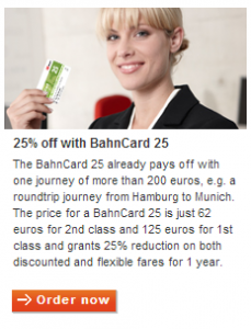 You pay a yearly fee for the Bahn card which then gives you discounts.