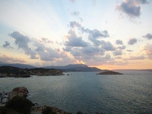 Sunset from the balcony of Ansi Apartments, Almyrida, Crete.