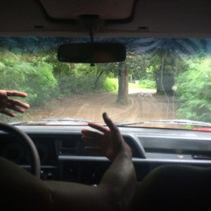 Driving down tiny dirt roads with